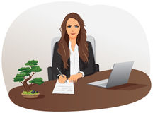 Businesswoman is writing document Royalty Free Stock Photography