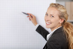 Businesswoman Writing At Flip Chart In Office. Portrait of young businesswoman writing at flip chart in office Royalty Free Stock Photos