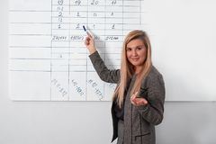 Businesswoman writing on flipchart while giving presentation to colleagues in office.  Royalty Free Stock Images