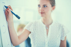 Businesswoman writing on flipchart while giving presentation to colleagues in office Stock Photos
