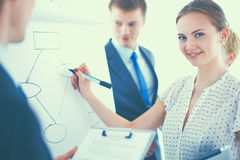 Businesswoman writing on flipchart while giving presentation to colleagues in office Stock Images