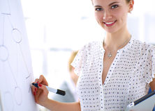 Businesswoman writing on flipchart while giving presentation to colleagues in office Stock Image