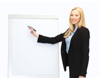 Businesswoman writing on flipchart in office Royalty Free Stock Image