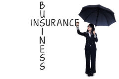 Businesswoman writing insurance concept