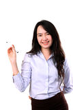 Businesswoman writing by marker pen Royalty Free Stock Image