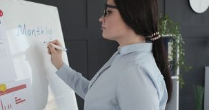 Businesswoman writing on whiteboard at office. Businesswoman writing monthly budget on whiteboard at office stock footage