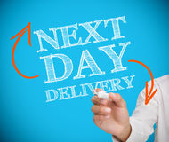 Businesswoman writing next day delivery Royalty Free Stock Images