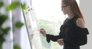 Businesswoman writing on office whiteboard stock footage