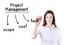 Businesswoman writing project management concept Stock Photography