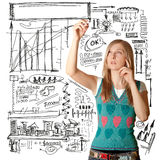 Businesswoman writing something Royalty Free Stock Images