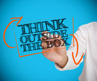 Businesswoman writing think outside the box with a chalk Royalty Free Stock Images