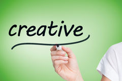 Businesswoman writing the word creative Royalty Free Stock Images