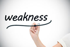 Businesswoman writing the word weaknesses. Against white background with vignette stock photo