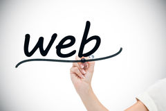 Businesswoman writing the word web Stock Photos