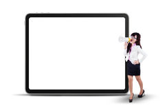 Businesswoman yelling next to copyspace Royalty Free Stock Photo