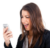 Businesswoman yelling at the phone Royalty Free Stock Photo