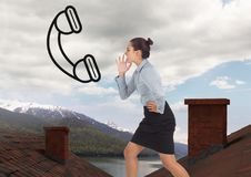 Businesswoman yelling at phone icon and standing on Roofs with chimney and mountain lake landscape Royalty Free Stock Image