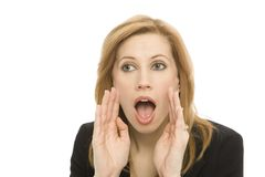 Businesswoman yells. A businesswoman in a suit yells and gestures Stock Photos