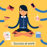 Businesswoman in Yoga Pose Stock Photography