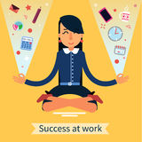 Businesswoman in Yoga Pose Searching the Balance at Work. Businesswoman in Yoga Pose Searching the Balance at Multitasking Work. Vector illustration in flat Stock Photos