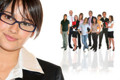 Businesswoman and your businessteam Stock Images