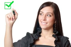 Businesswomanl holding a marker Royalty Free Stock Photos