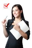 Businesswomanl holding a marker Royalty Free Stock Photo