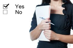 Businesswomanl holding a notebook Royalty Free Stock Photo
