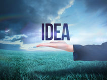 Businesswomans hand presenting the word idea Stock Images