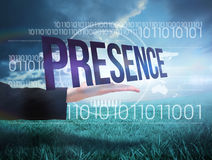 Businesswomans hand presenting the word presence Stock Photo