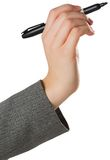 Businesswomans hand writing with marker Stock Image