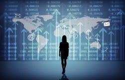 Businesswomans kontur med symboler Fotografering för Bildbyråer