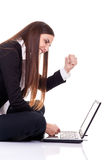 Businesswomen angry on lap top Stock Image