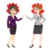 Businesswomen Arguing. Businesswomen angry arguing and fighting conflict at work Stock Images