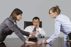 Businesswomen arguing in front of businessman at office stock photo