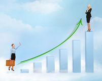 Businesswomen with big 3d chart Royalty Free Stock Images
