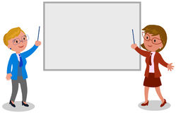 Businesswomen with blank board vector. Two businesswomen showing something at the white board illustration Royalty Free Stock Photo