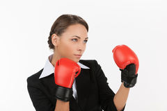 Businesswomen in boxing gloves. Royalty Free Stock Photo