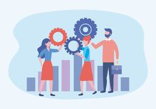 Businesswomen and businessman with gears and statistics bar. To teamwork strategy vector illustration royalty free illustration