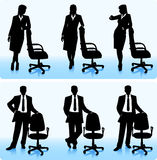 Businesswomen and businessmen silhouettes Royalty Free Stock Photos