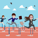 Businesswomen Competition Jumping Hurdle. Small group of businesswomen competition concept jumping hurdles on business competitive career Royalty Free Stock Image