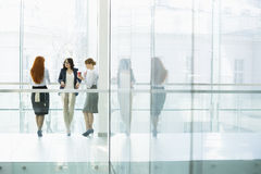 Businesswomen conversing at office hallway Royalty Free Stock Photo
