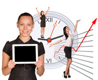 Businesswomen in different postures. On abstract white background Royalty Free Stock Photography