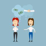 Businesswomen discuss contract or business. Businesswomen discuss details of partnership or contract with thought bubbles above them showing money and handshake Royalty Free Stock Photo