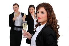 Businesswomen drinking champagne Stock Photography