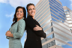 Businesswomen in Front of Office Building Stock Photography