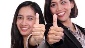 Businesswomen give two thumbs up isolated Royalty Free Stock Photo