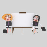 Businesswomen giving a presentation at white board. NnEasy combine! 4000 x 4000 / 300 dpi / Isolate. Custom 3d illustration Stock Photography