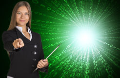 Businesswomen with glow figures Stock Photography
