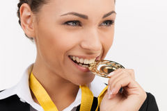 Businesswomen with gold medal. Stock Photography